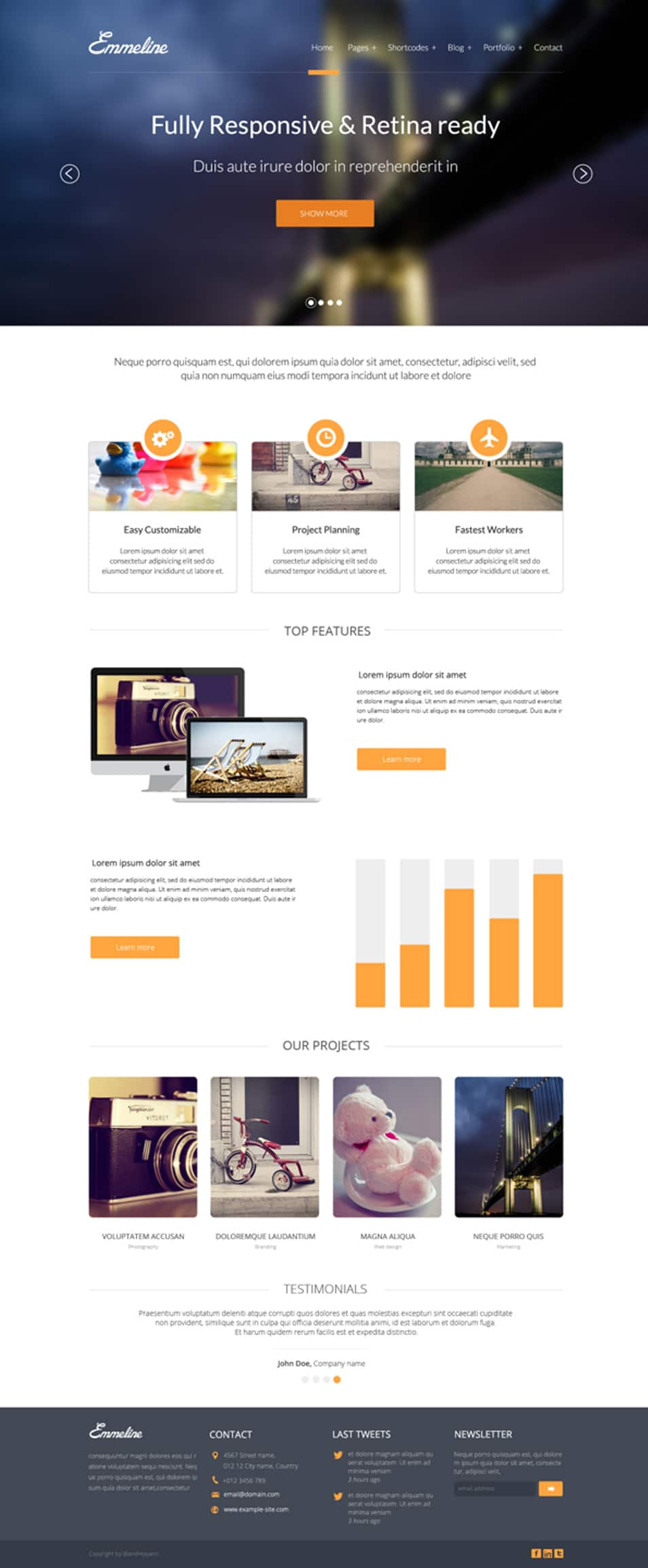 Emmeline Multipurpose website PSD Template Free