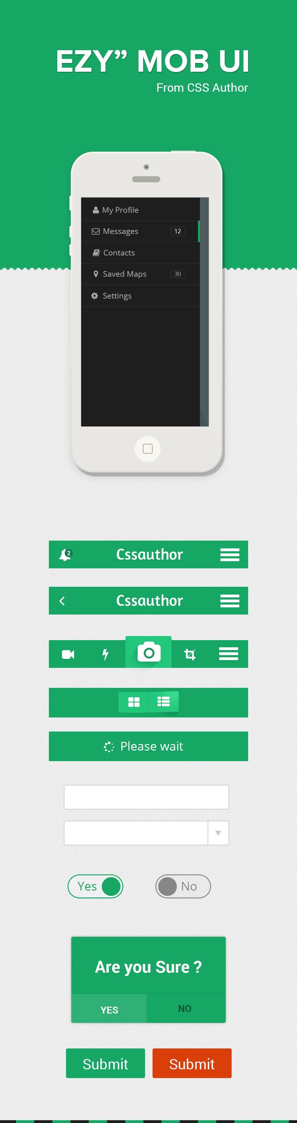 Ezy - A Mobile User Interface Design Kit PSD - cssauthor.com