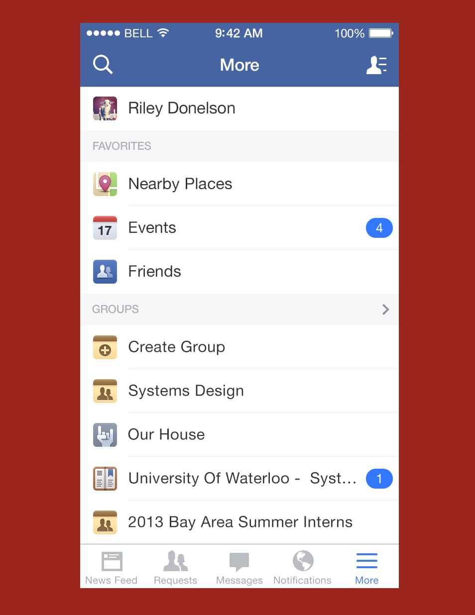 Facebook iOS7 More Menu