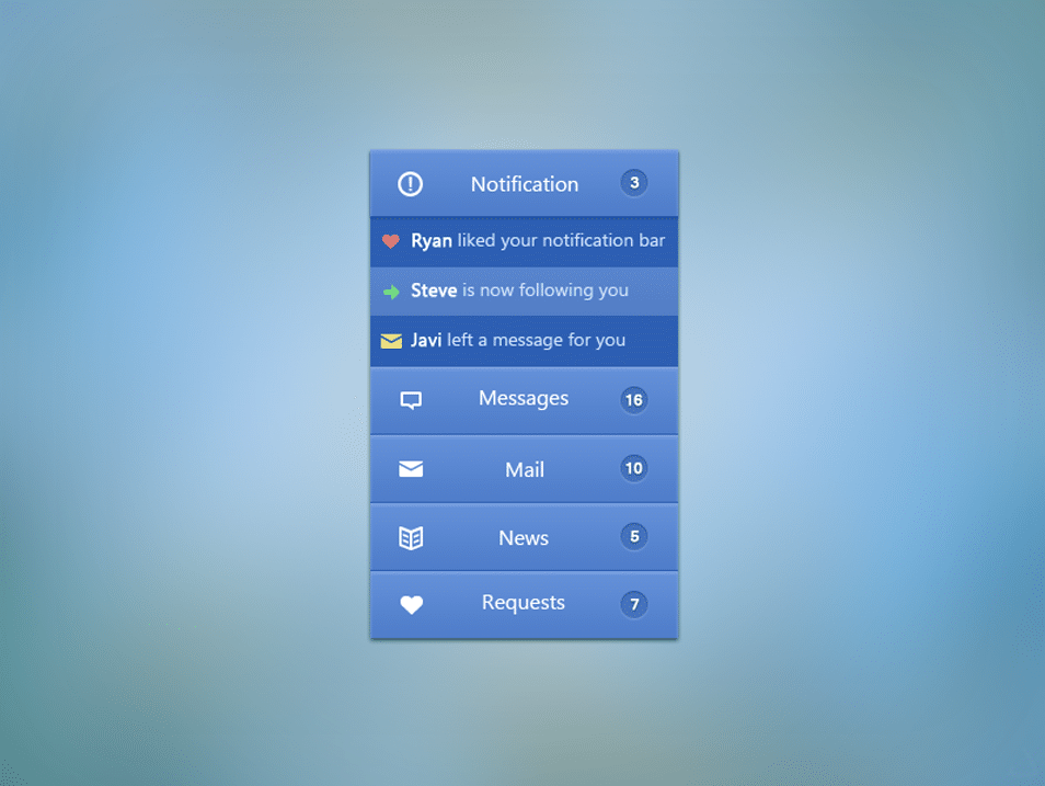 Finely Textured Blue Navigation Menu PSD