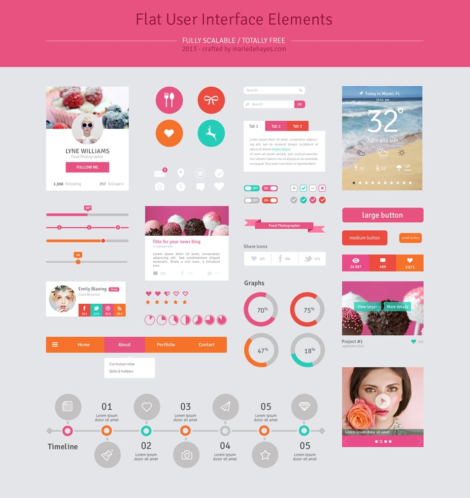 Flat Design User Interface Elements psd