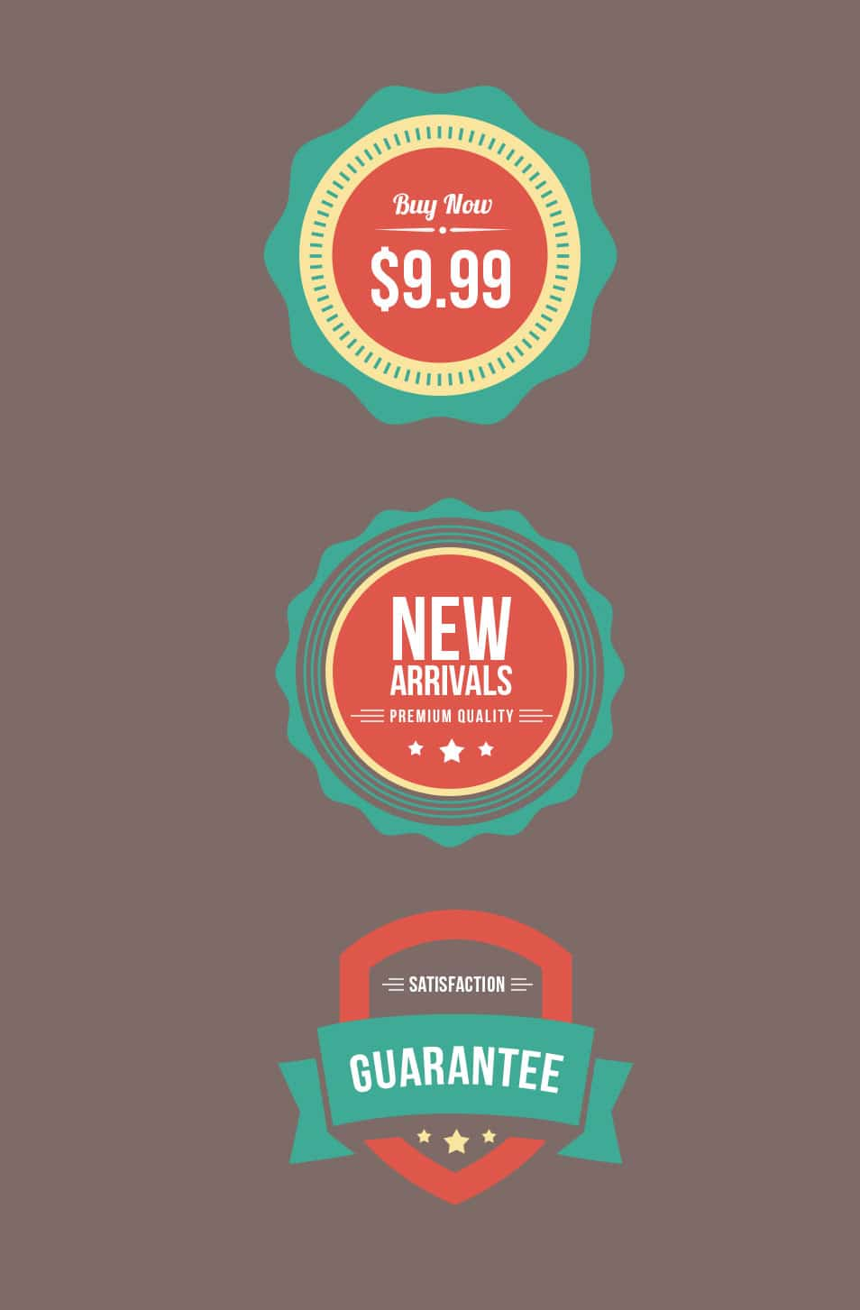 Flat Web Badges (PSD)