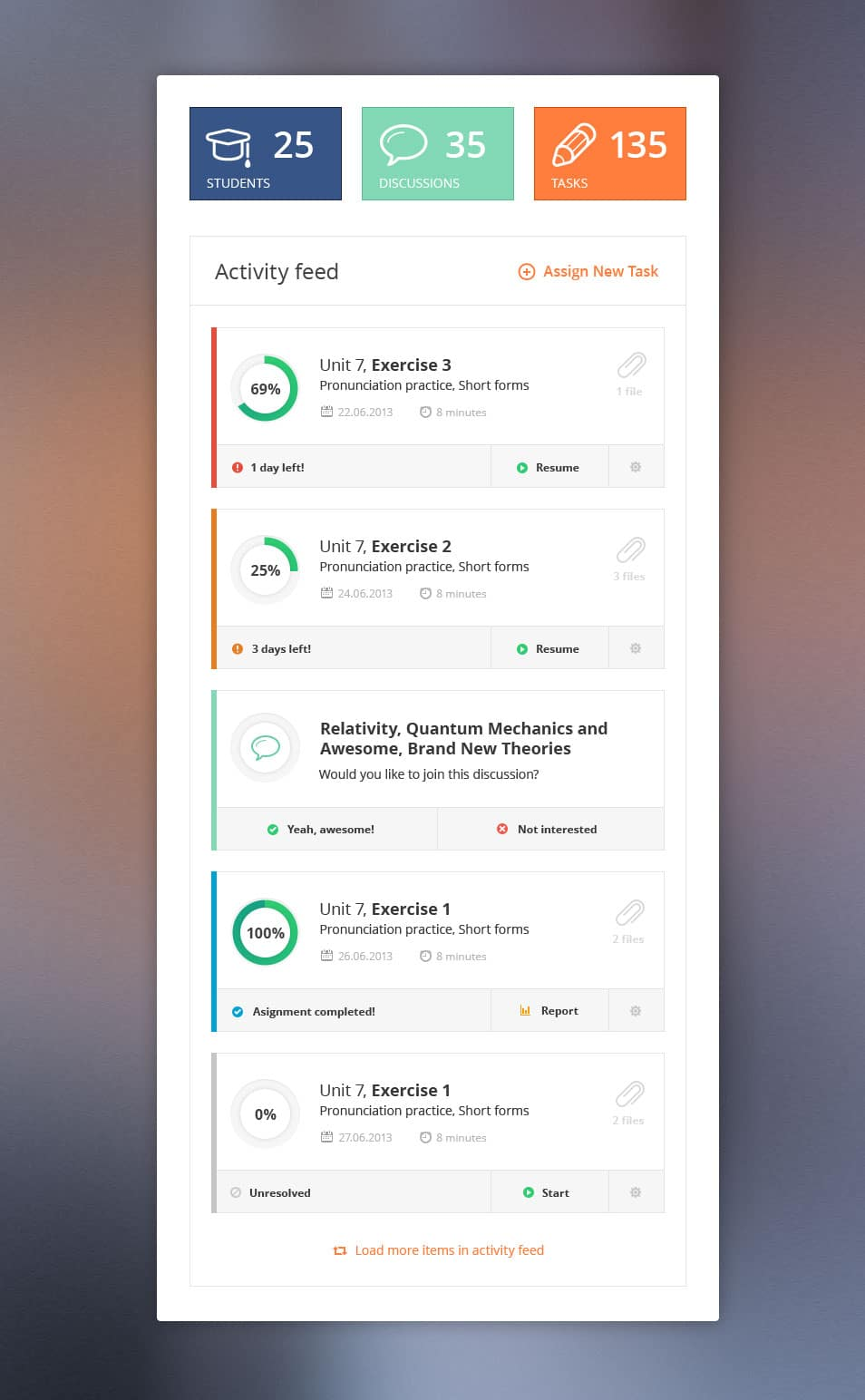 Free Activity feed .PSD