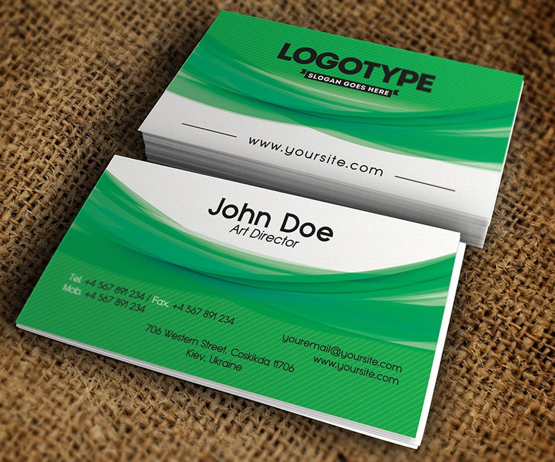 Free Corporate Green Business Card PSD