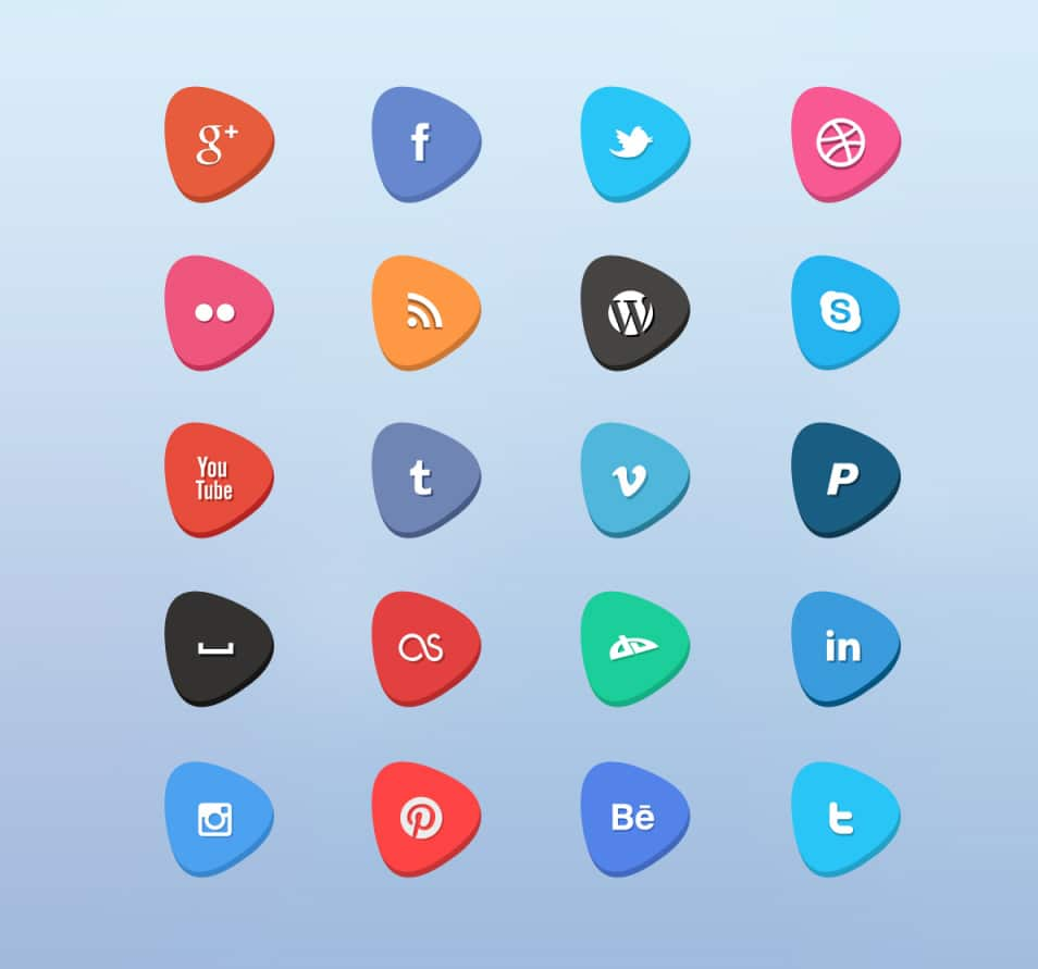 Free Flat Social Icon Set