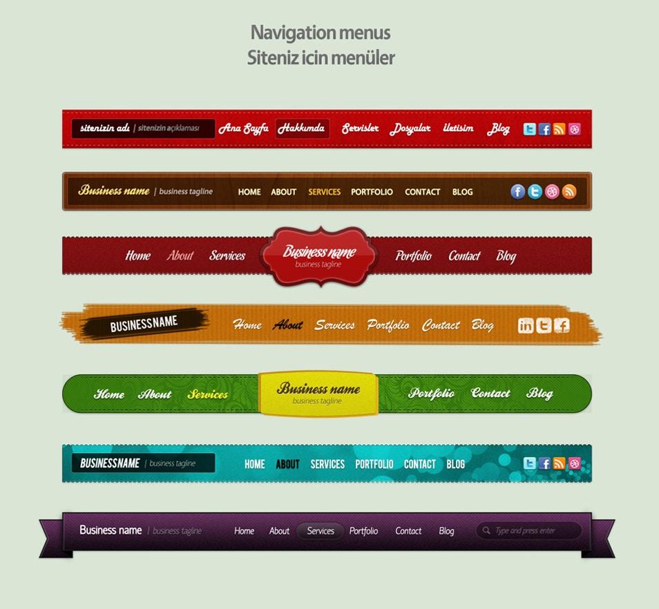 Free Navigation Menus Psd