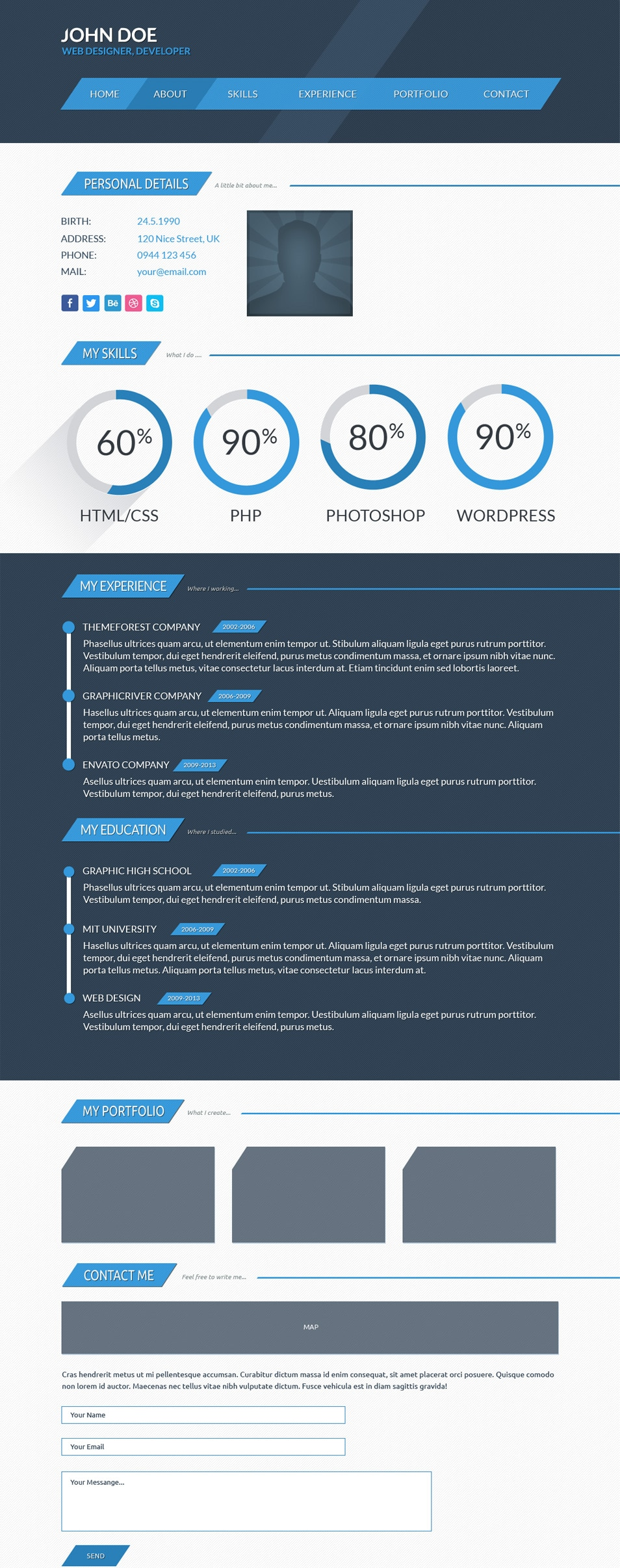 Free PSD Template CV page