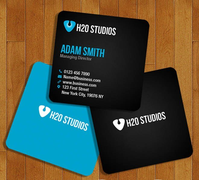 Free Square Business Card Template PSD