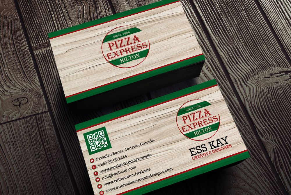 Free Vintage Pizza Business Card PSD