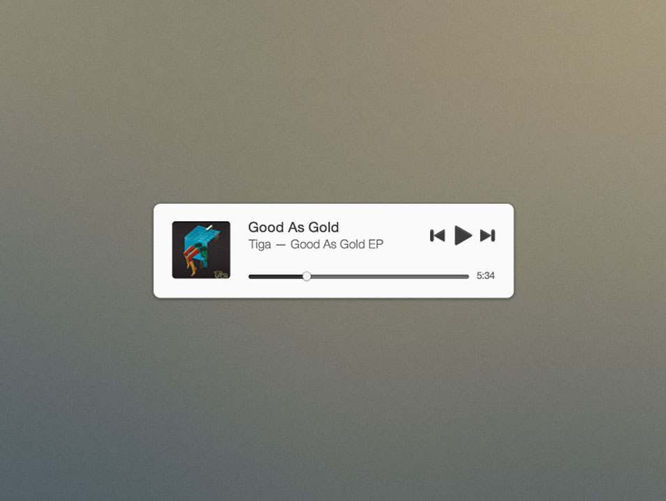 Mini Music Widget (Free PSD)