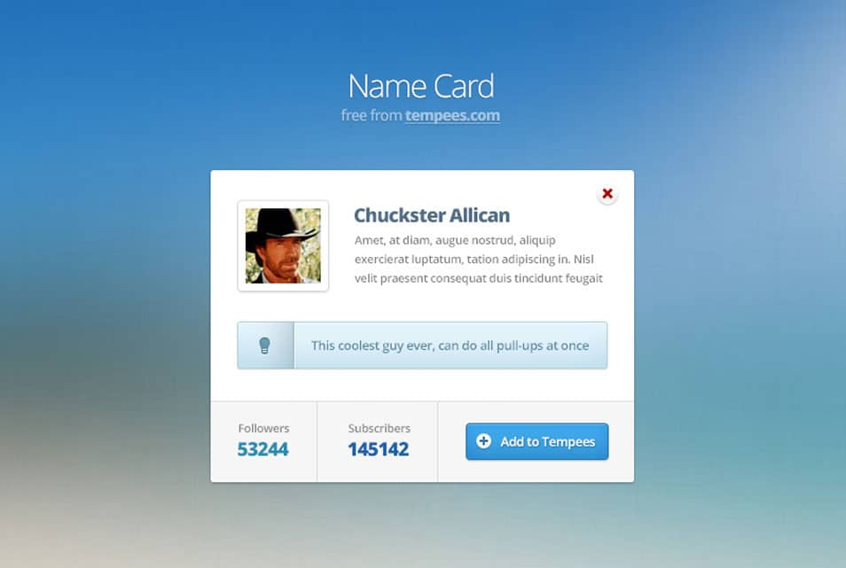 Name card with features