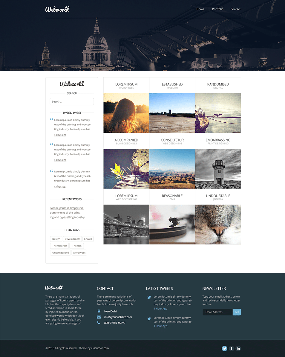 Professional free corporate web design template psd css for Web page architecture