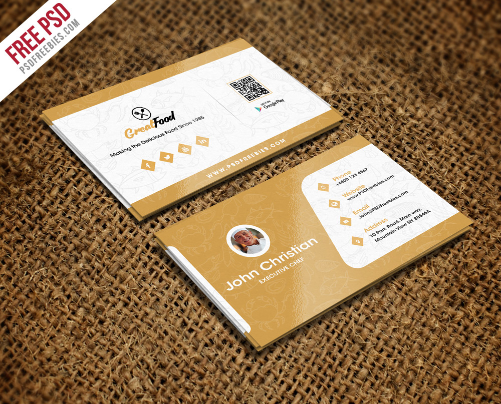 Restaurant Chef Business Card Template PSD