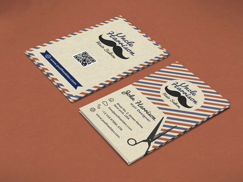 Retro Barber Shop Business Card Template PSD