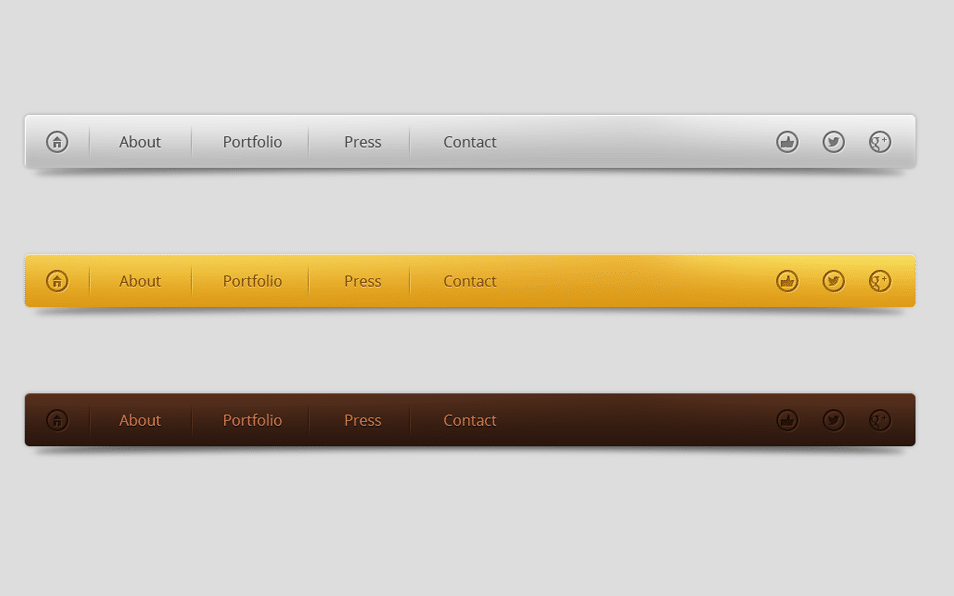Smooth Clean Navigation Menus Set PSD
