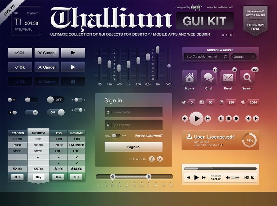 Thallium GUI Kit FREE PSD
