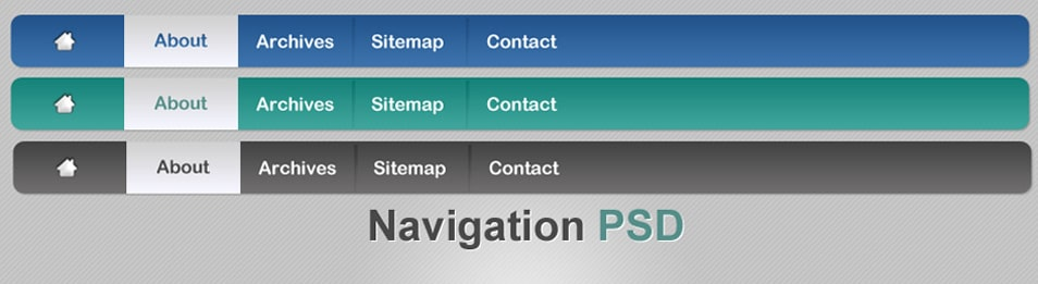 Three navigation menu PSD material