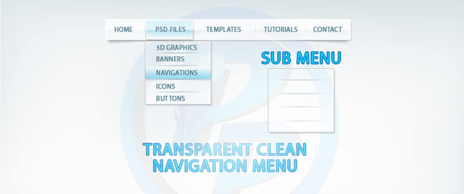 Transparent Navigation Menu PSD