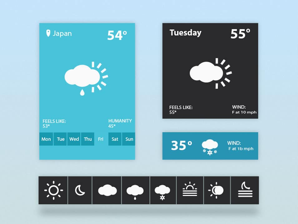 Weather Widget UI (freebie PSD)