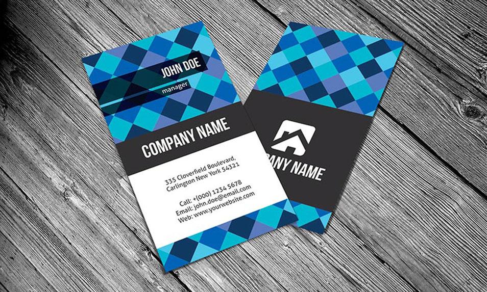 creative diagonal pixels business card template
