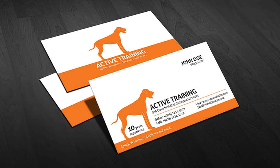 dog trainer business card template. Black Bedroom Furniture Sets. Home Design Ideas