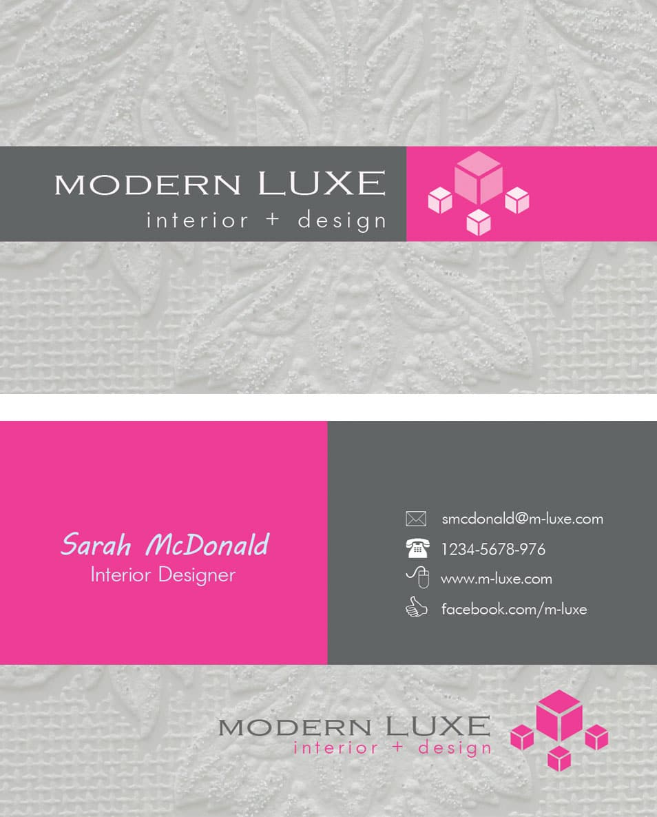 modern interior designer business cards