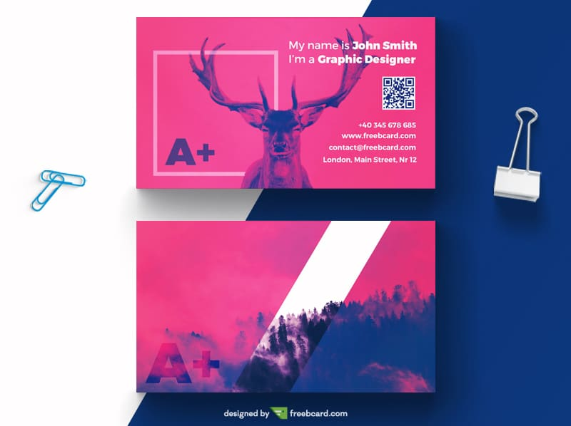 purple business card with deer