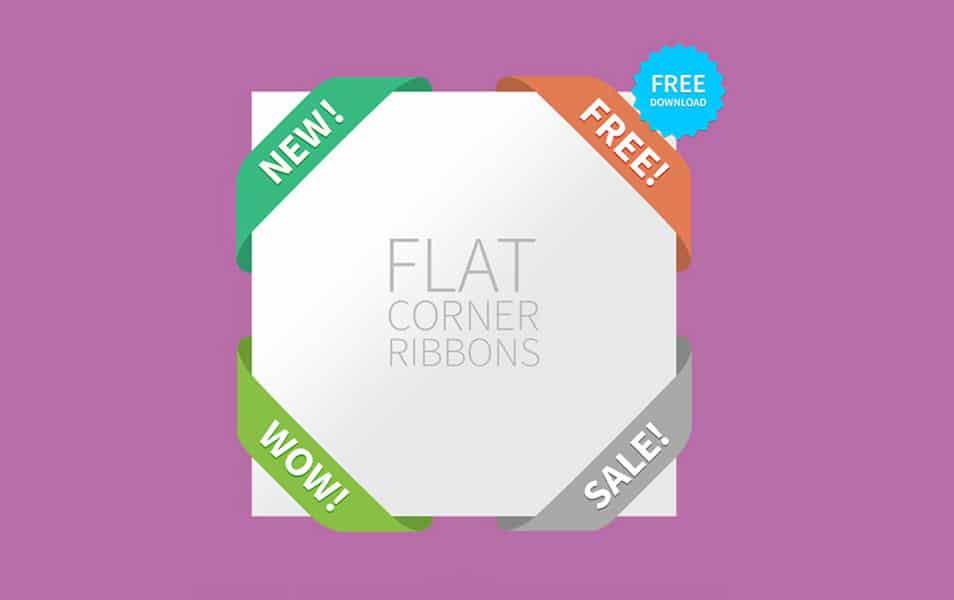 4 Silky Web UI Flat Corner Ribbons Set