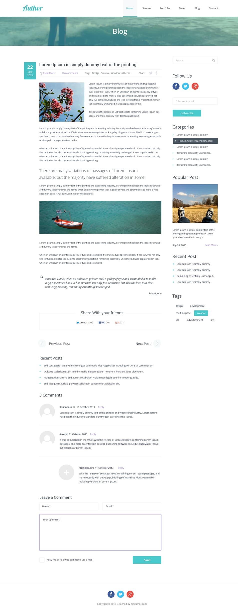 Agency Website Template PSD_Blog Inner Page_cssauthor.com