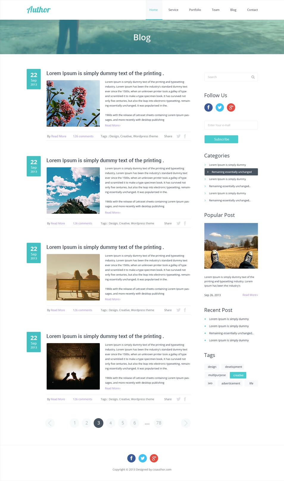 wordpress create blog page template - free agency web template