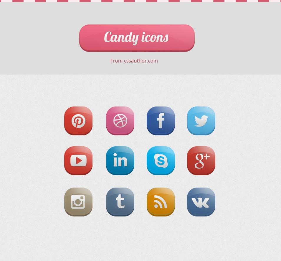 Candy Social Icons PSD - cssauthor.com