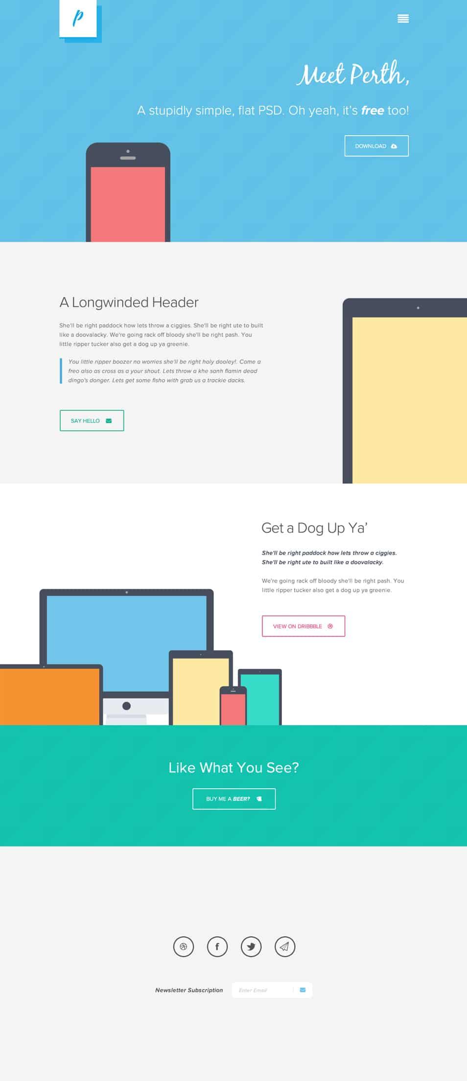Free Flat Web Design PSD