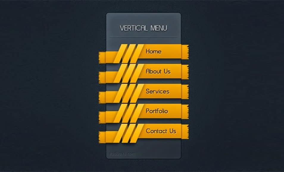 Free PSD Vertical Menu With A Ribbon