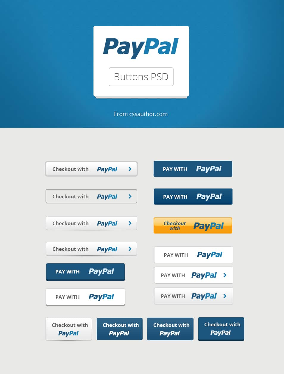 Free Paypal Buttons PSD