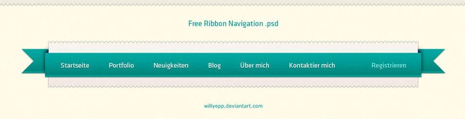 Free Ribbon Navigation PSD