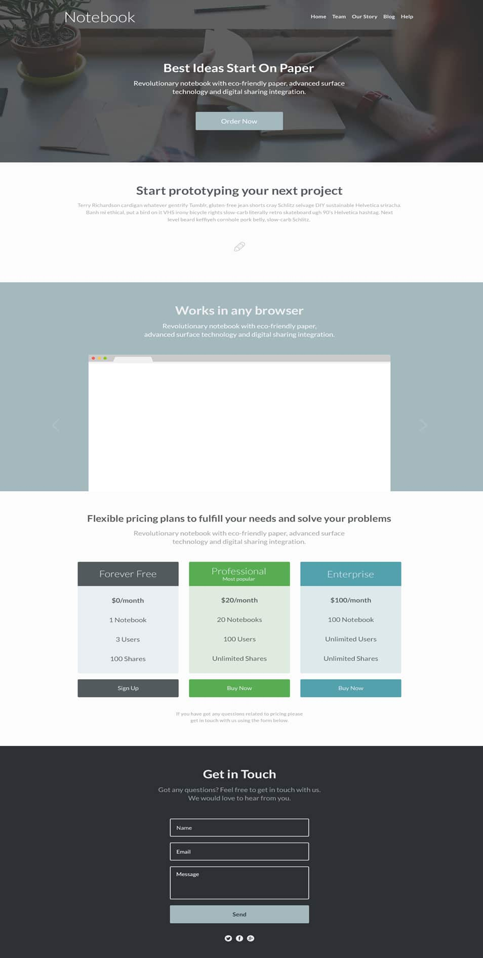 Notebook Free Landing Page PSD Template
