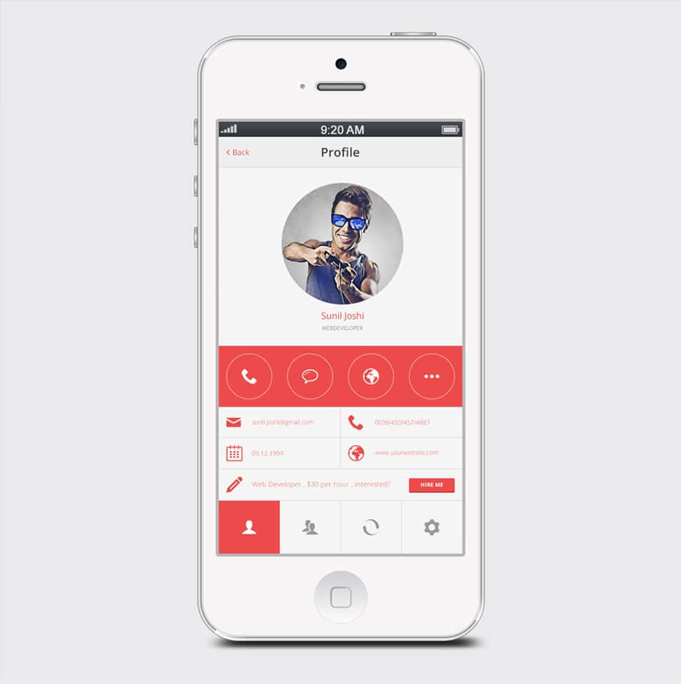 User Profile for Mobile PSD