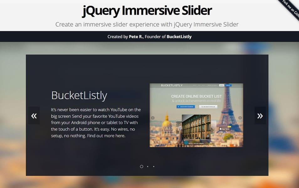 jQuery Immersive Slider