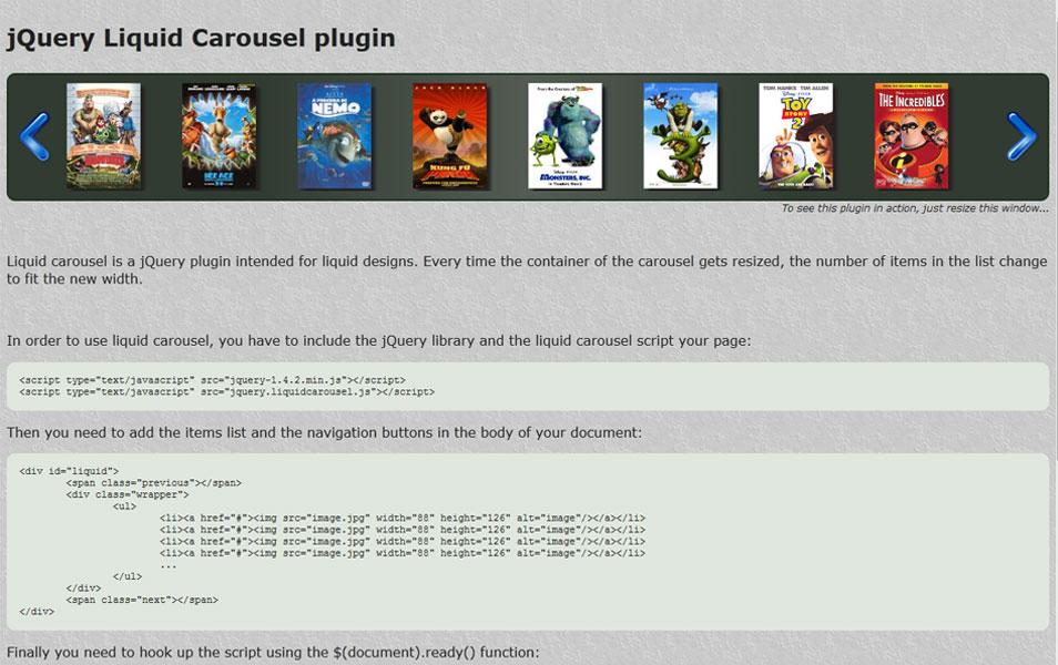 jQuery Liquid Carousel plugin