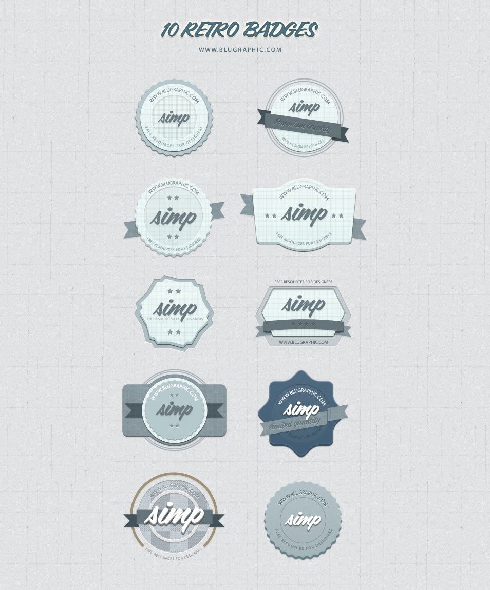 10 Free Vintage Retro Badges (Psd)