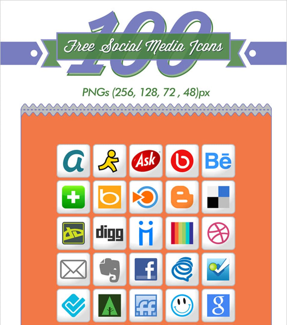 100 Free White Social Media Icons (256 px PNGs & Vector File)