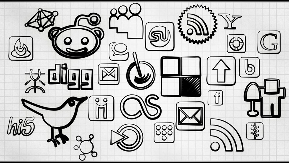 108 Free Black Magic Marker Social Bookmarking Icons