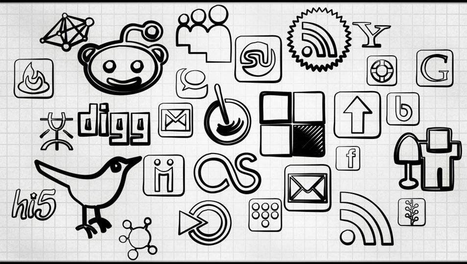108 Free Black Magic Marker Social Bookmarking Icons
