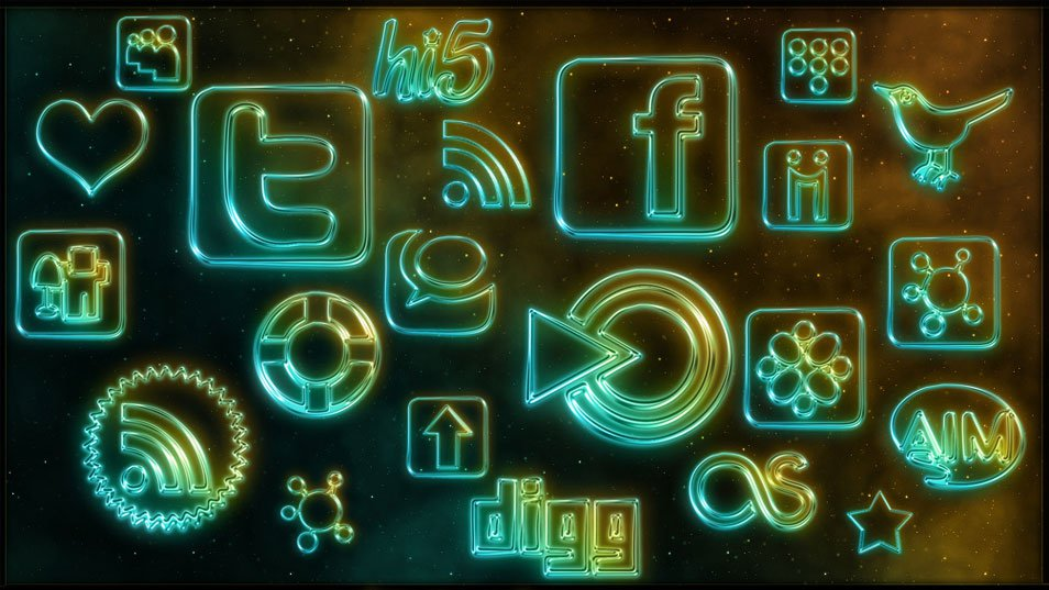 108 Free Glowing Neon Social Networking Icons