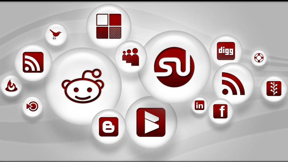 108 Red & White Pearl Social Media Icons