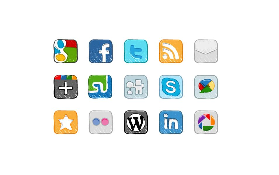 15 Hand Drawn Social Media Icons Vector Pack