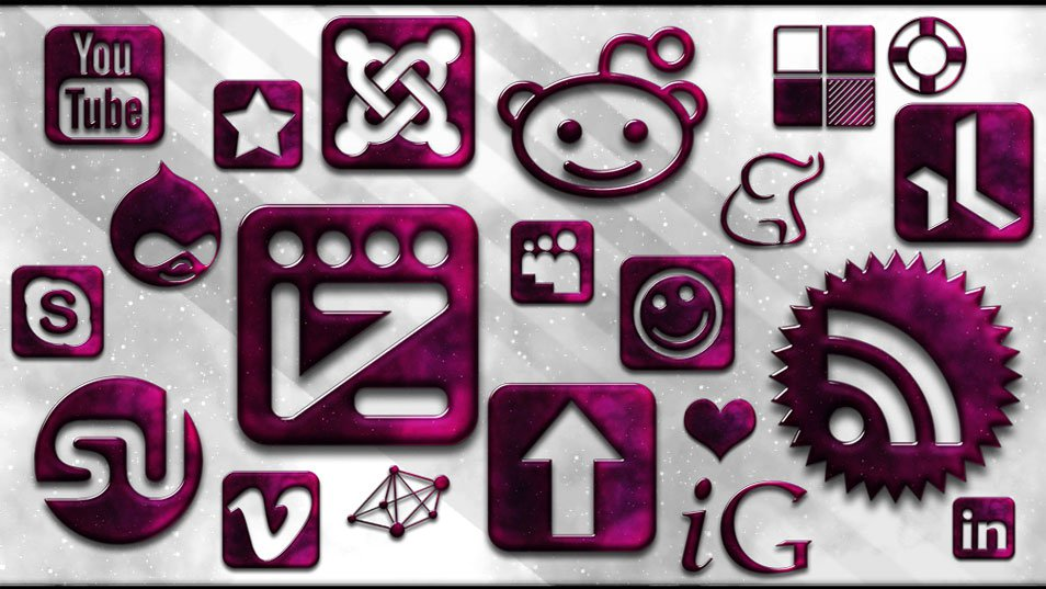 154 Free Glassy Space Social Networking Icons