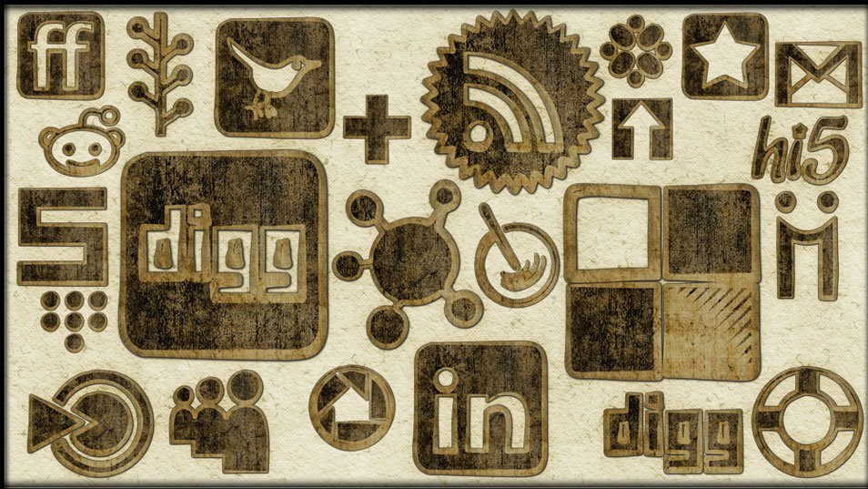 154 Worn Cloth Social Networking Icons