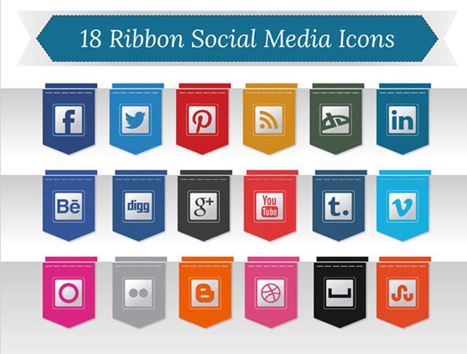 18 Free Ribbon Social Media Icons PNG (256 px)