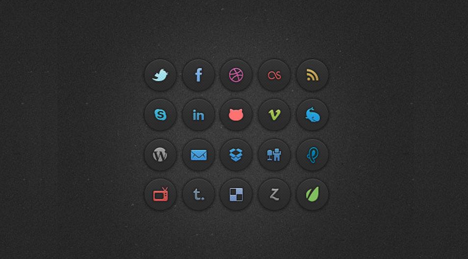 20 Dark Social Media Icons (Psd)